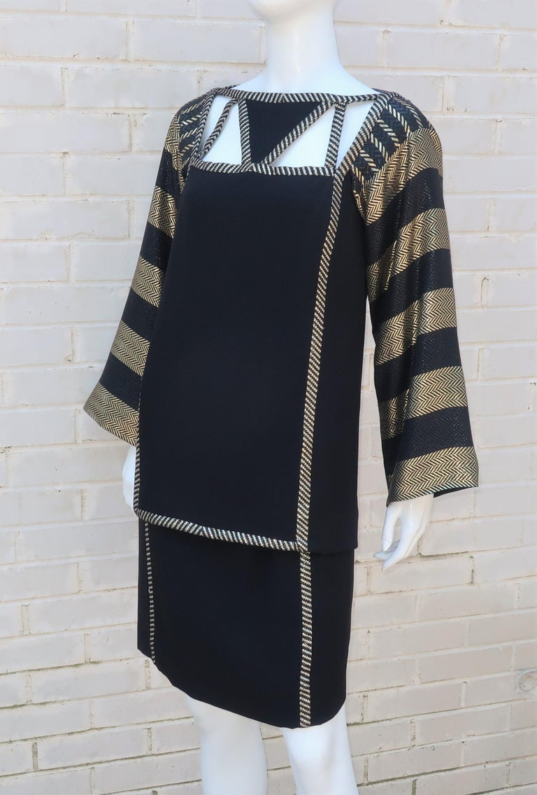 1970's Bob Mackie Black & Gold Lamé Art Deco Style Dress Ensemble For Sale 2