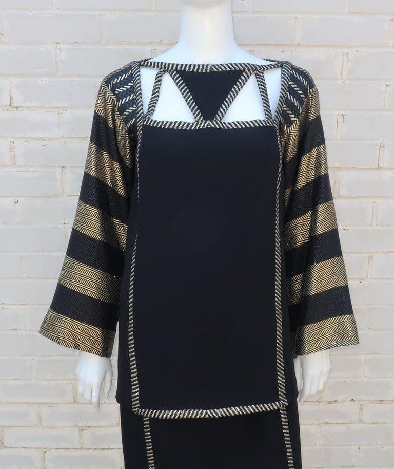 1970's Bob Mackie Black & Gold Lamé Art Deco Style Dress Ensemble In Excellent Condition For Sale In Atlanta, GA