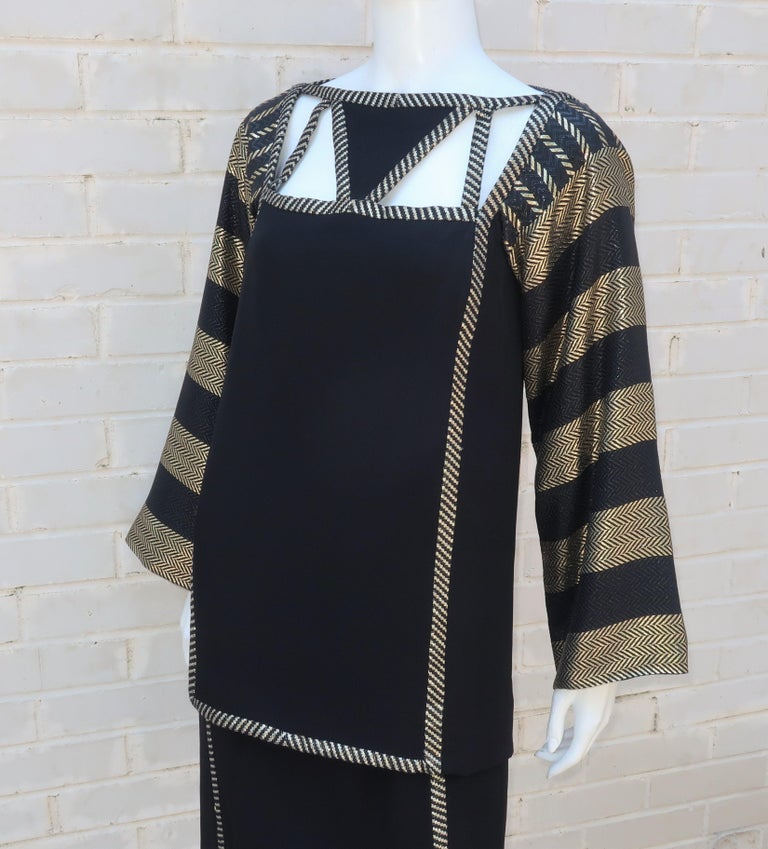1970's Bob Mackie Black & Gold Lamé Art Deco Style Dress Ensemble For Sale 4