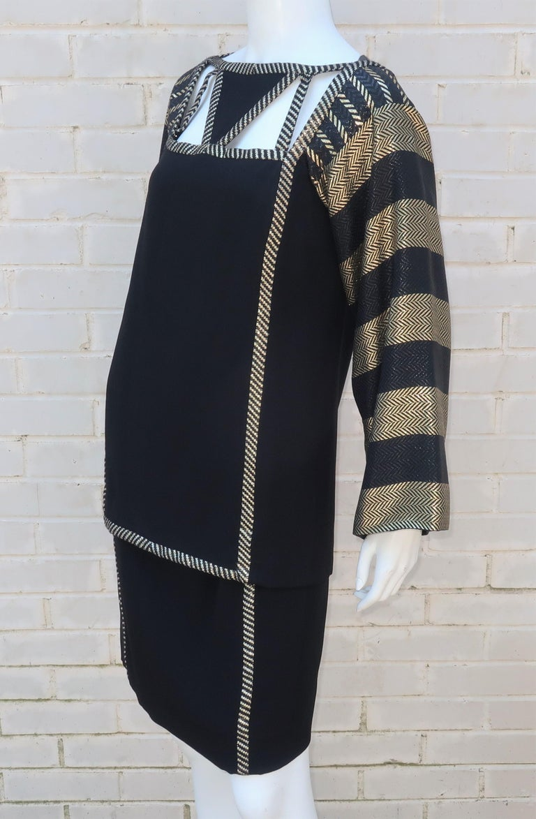 1970's Bob Mackie Black & Gold Lamé Art Deco Style Dress Ensemble For Sale 5