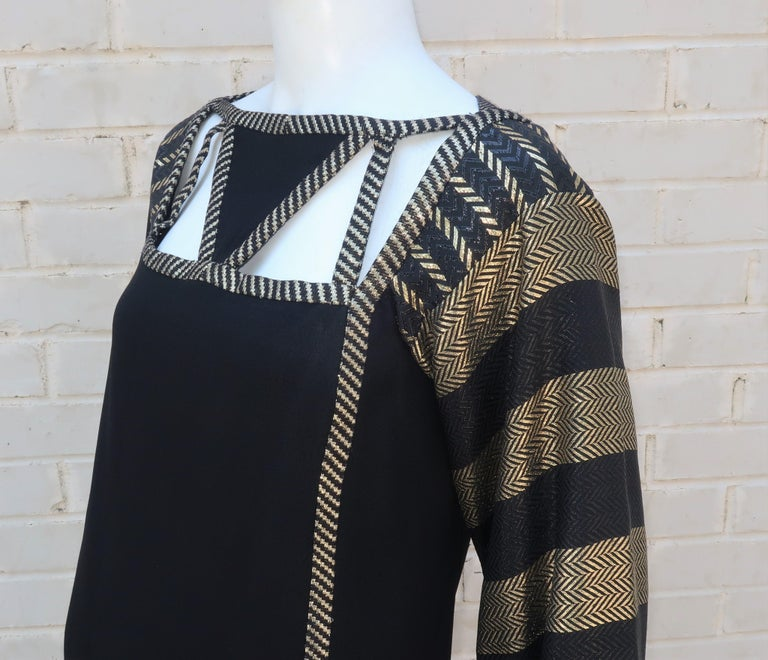 1970's Bob Mackie Black & Gold Lamé Art Deco Style Dress Ensemble For Sale 6