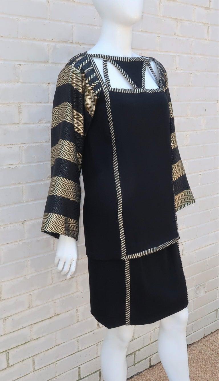 1970's Bob Mackie Black & Gold Lamé Art Deco Style Dress Ensemble For Sale 1