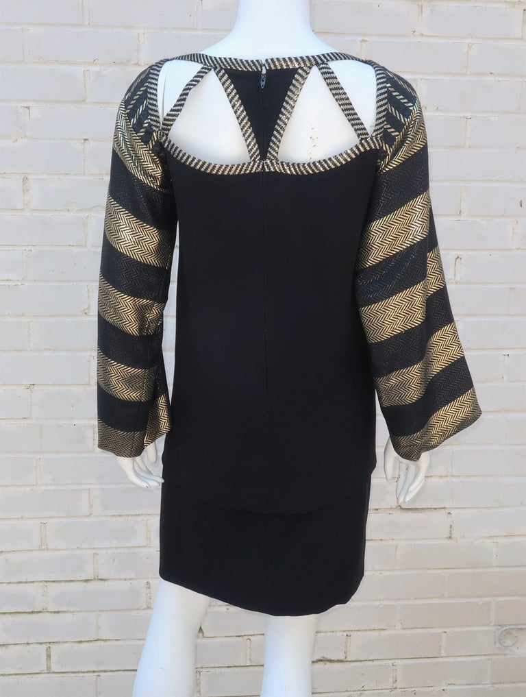 1970's Bob Mackie Black & Gold Lamé Art Deco Style Dress Ensemble For Sale 7