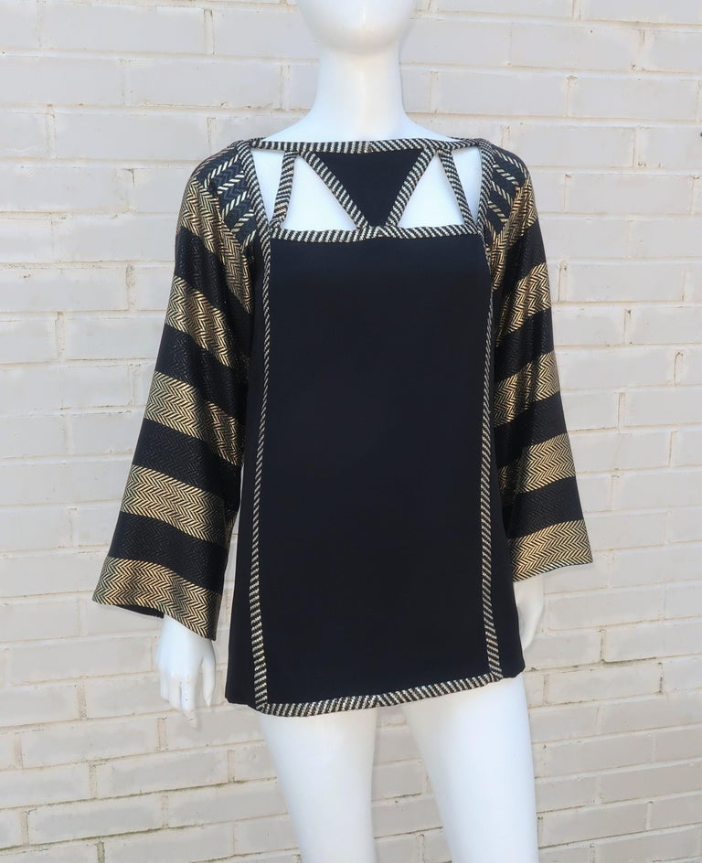 1970's Bob Mackie Black & Gold Lamé Art Deco Style Dress Ensemble For Sale 8