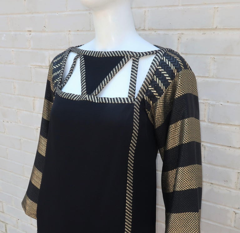 1970's Bob Mackie Black & Gold Lamé Art Deco Style Dress Ensemble For Sale 3