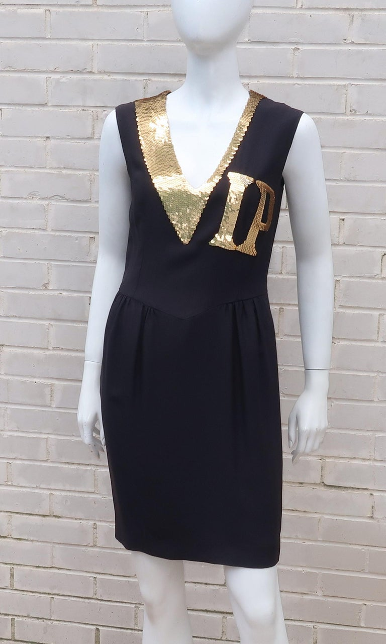 65f60a760ff ... Couture Black   Gold Sequin  VIP  Cocktail Dress For Sale. Moschino has  got your pass! In keeping with his irreverent style