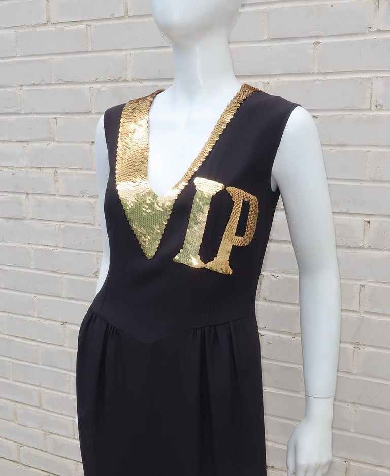 447e454368b Moschino Couture Black   Gold Sequin  VIP  Cocktail Dress In Excellent  Condition For Sale