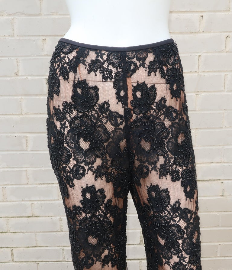 Vintage Beaded Black Lace Nude Illusion Bell Bottom Pants In Good Condition For Sale In Atlanta, GA