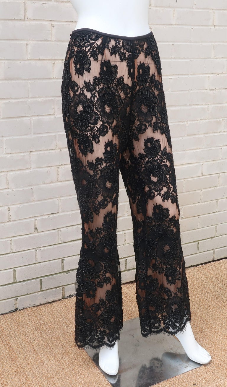 Women's Vintage Beaded Black Lace Nude Illusion Bell Bottom Pants For Sale