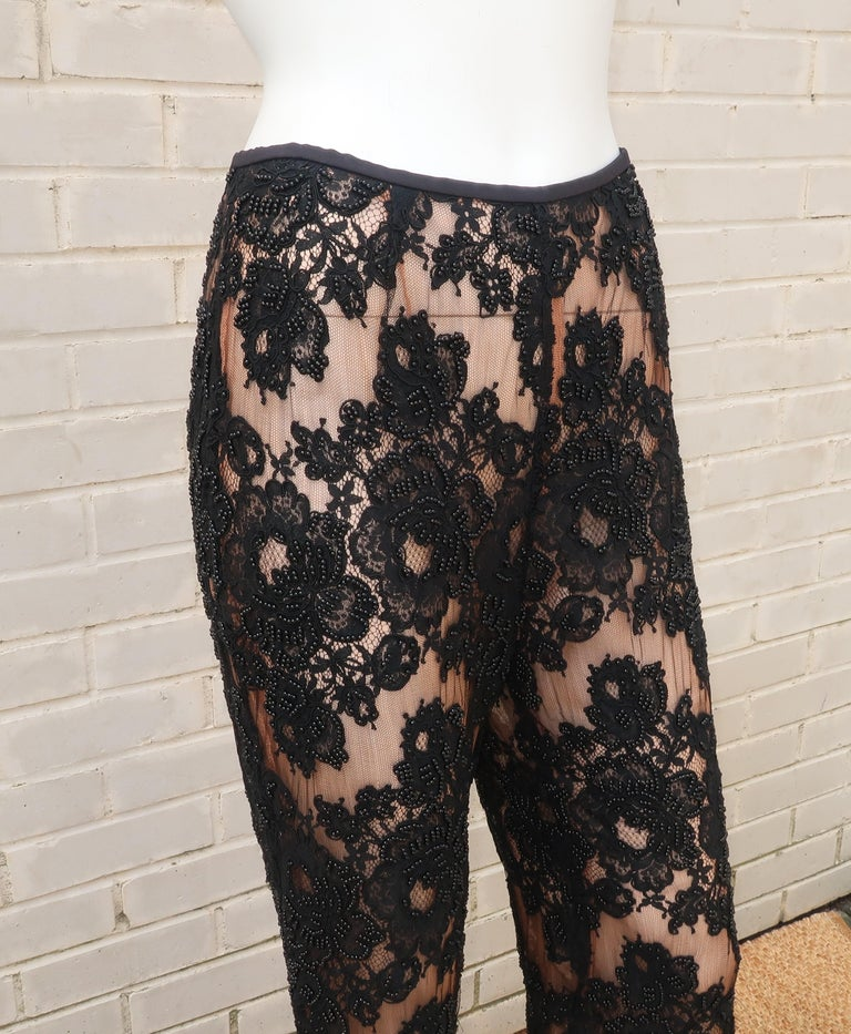 Vintage Beaded Black Lace Nude Illusion Bell Bottom Pants For Sale 1
