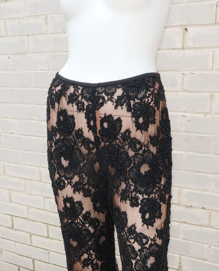 Vintage Beaded Black Lace Nude Illusion Bell Bottom Pants For Sale 2
