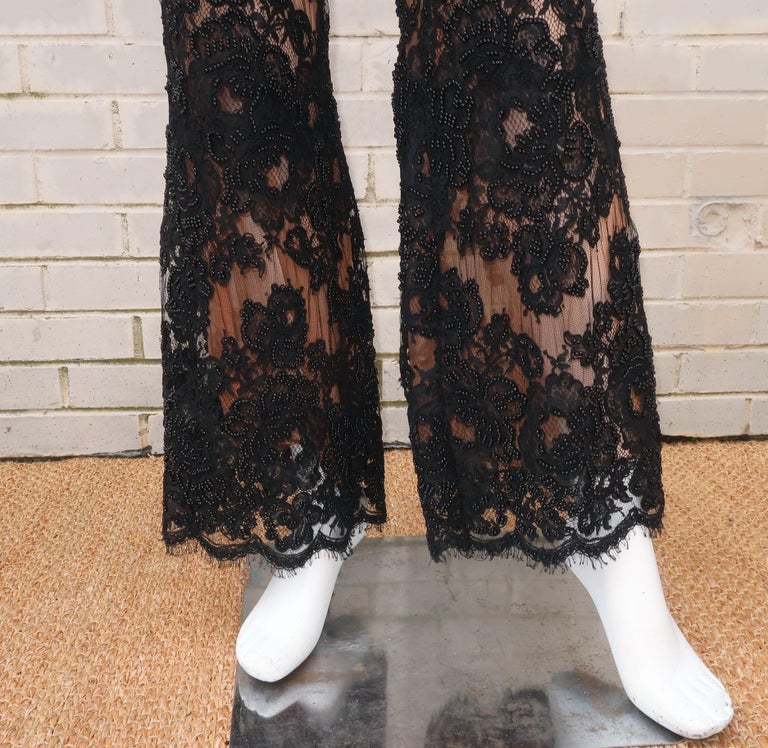 Vintage Beaded Black Lace Nude Illusion Bell Bottom Pants For Sale 3