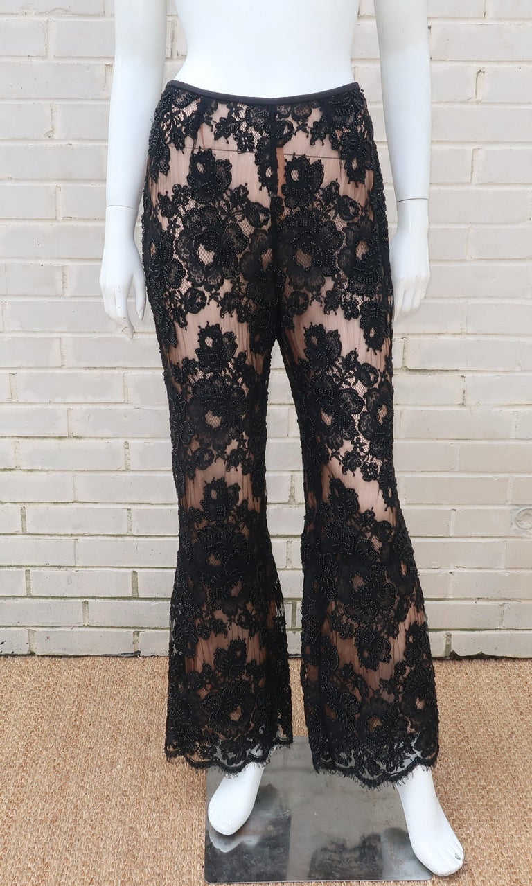 Vintage Beaded Black Lace Nude Illusion Bell Bottom Pants For Sale 4