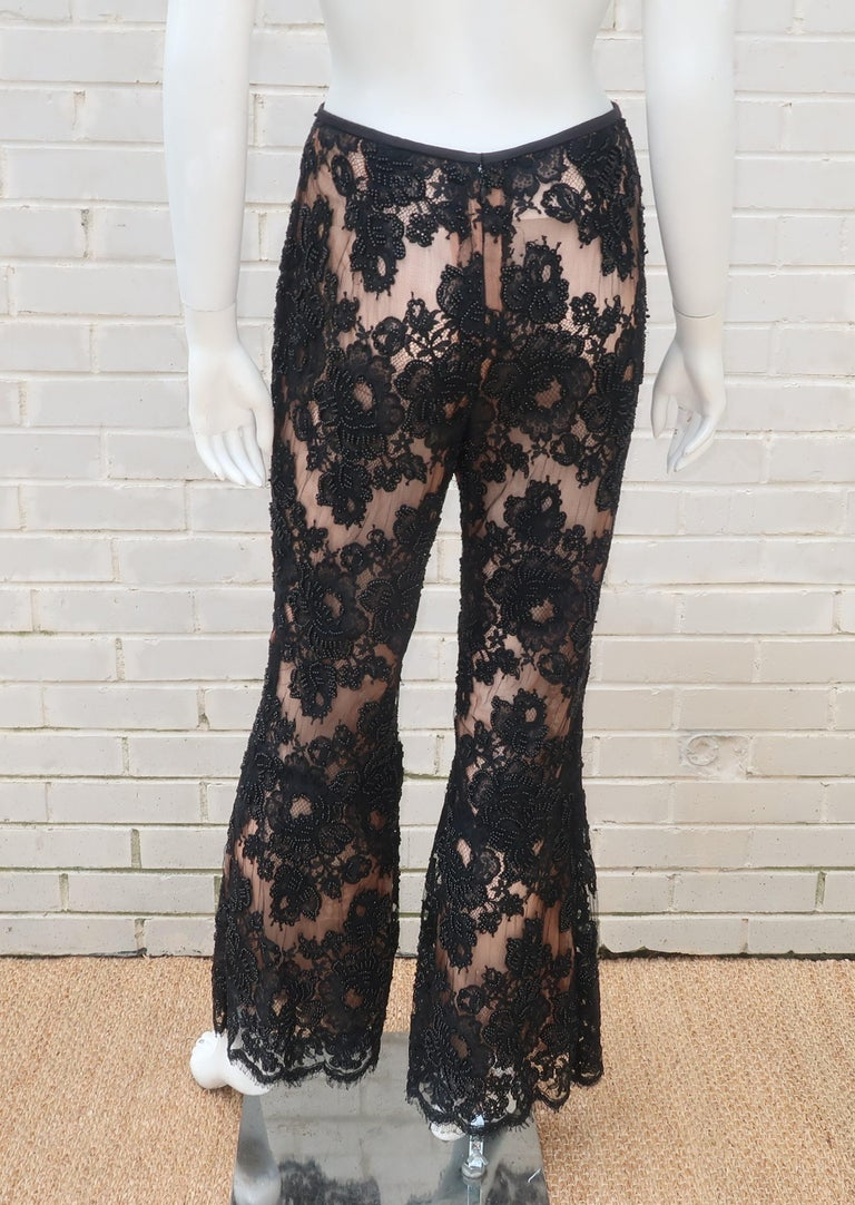 Vintage Beaded Black Lace Nude Illusion Bell Bottom Pants For Sale 8