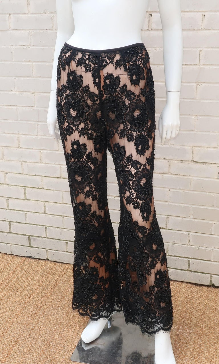 Vintage Beaded Black Lace Nude Illusion Bell Bottom Pants For Sale 5