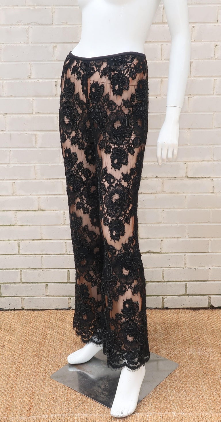 Vintage Beaded Black Lace Nude Illusion Bell Bottom Pants For Sale 6