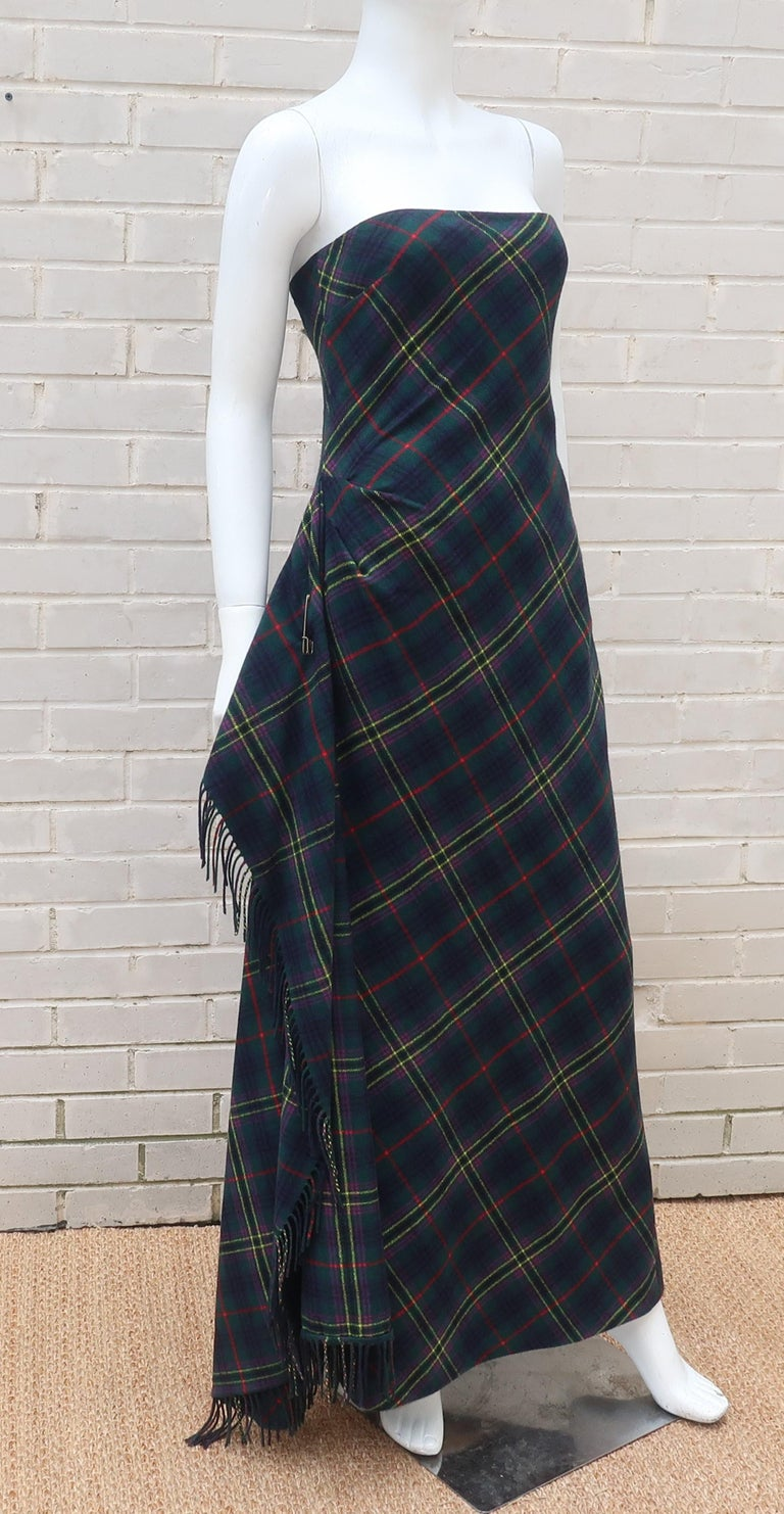 Ralph Lauren Cashmere Blend Tartan Plaid Evening Dress At
