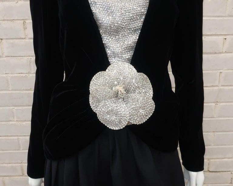 Women's C.1990 Oscar de la Renta Black Velvet Two Piece Dress With Silver Sequins For Sale