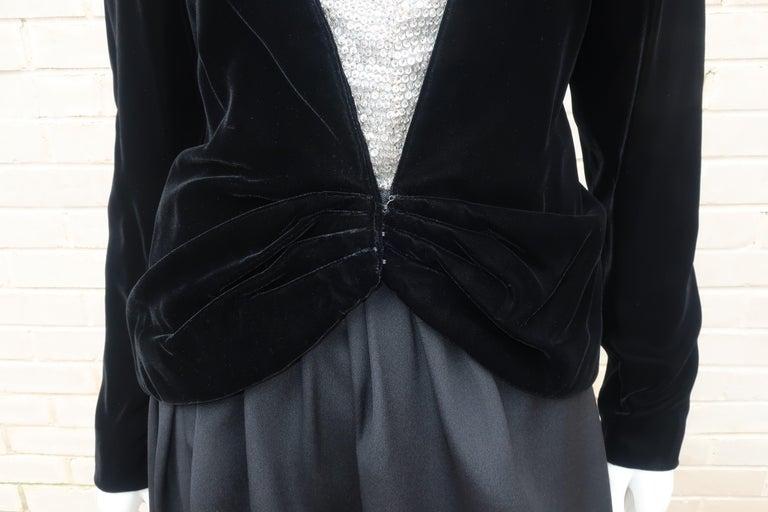 C.1990 Oscar de la Renta Black Velvet Two Piece Dress With Silver Sequins For Sale 6