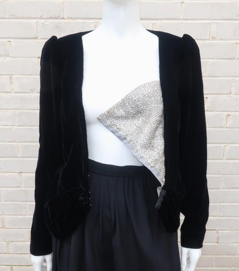 C.1990 Oscar de la Renta Black Velvet Two Piece Dress With Silver Sequins For Sale 7