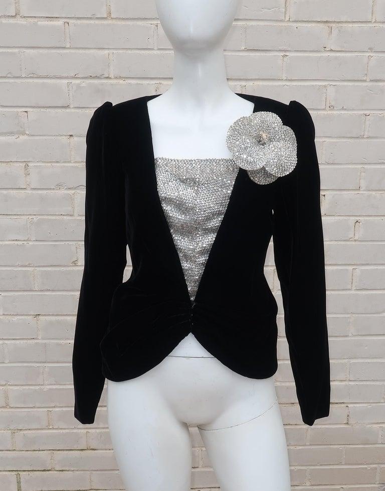 C.1990 Oscar de la Renta Black Velvet Two Piece Dress With Silver Sequins For Sale 12