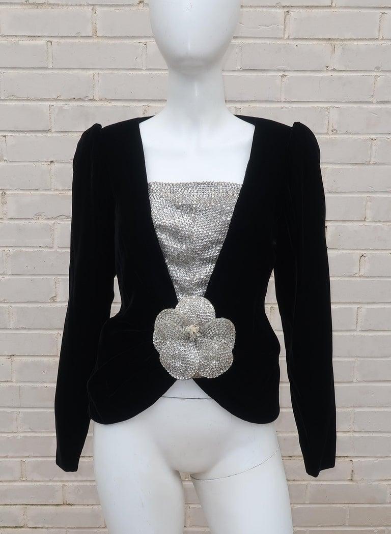 C.1990 Oscar de la Renta Black Velvet Two Piece Dress With Silver Sequins For Sale 11
