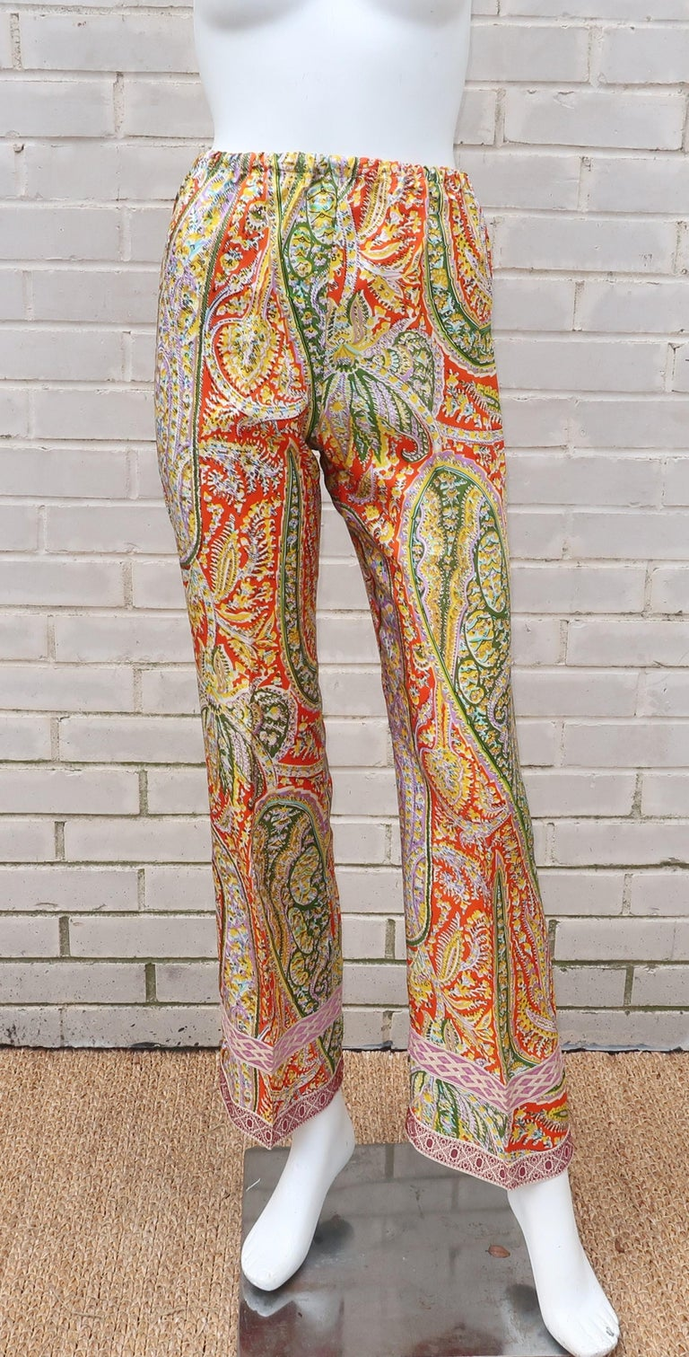 Eloise Curtis Exotic Mod Paisley Tunic Dress and Pant Suit, 1960s  For Sale 7