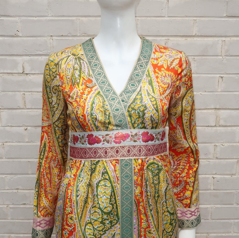 Brown Eloise Curtis Exotic Mod Paisley Tunic Dress and Pant Suit, 1960s  For Sale
