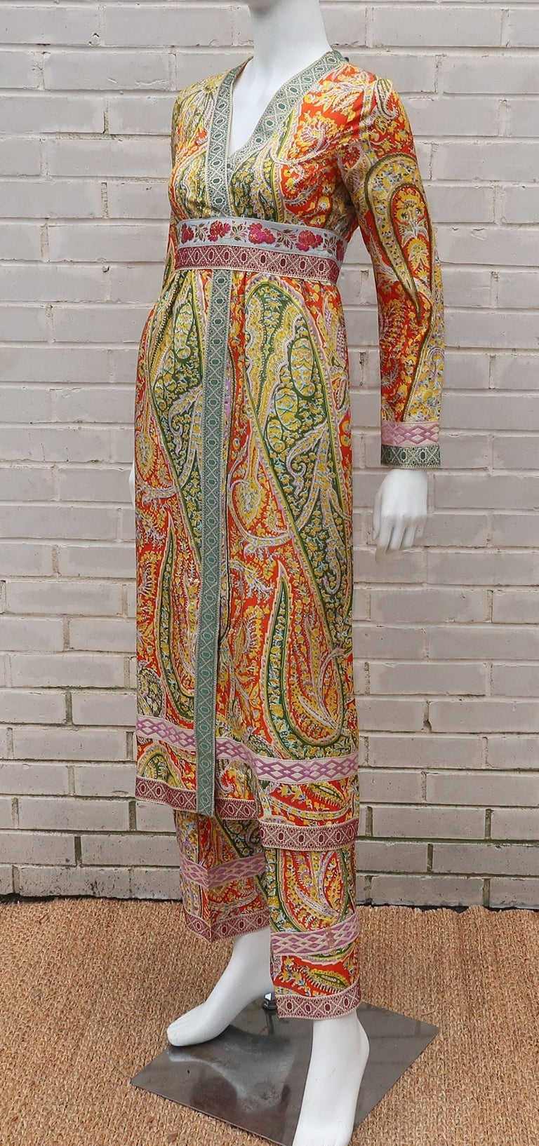 Eloise Curtis Exotic Mod Paisley Tunic Dress and Pant Suit, 1960s  For Sale 1