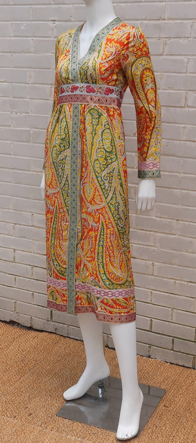 Eloise Curtis Exotic Mod Paisley Tunic Dress and Pant Suit, 1960s  For Sale 6