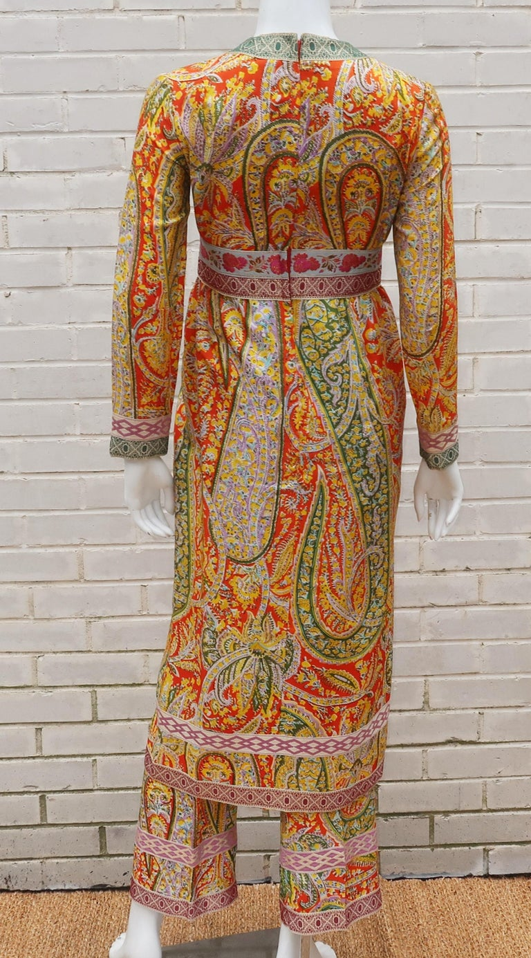 Eloise Curtis Exotic Mod Paisley Tunic Dress and Pant Suit, 1960s  For Sale 4