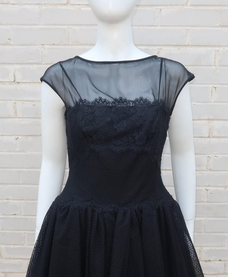 Stanley Platos Black Tulle and Lace Ballerina Cocktail Dress, 1980s   In Excellent Condition For Sale In Atlanta, GA