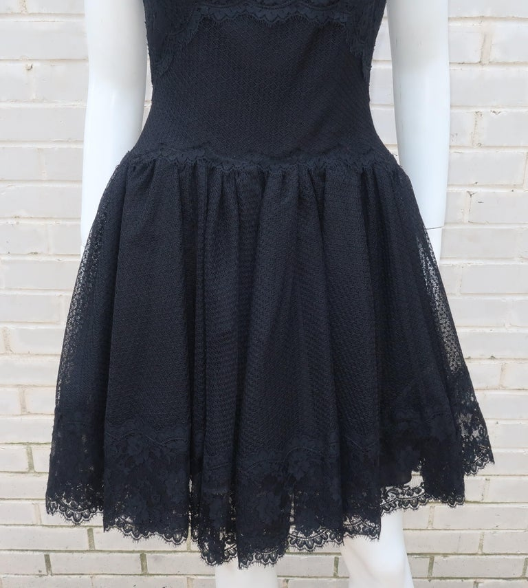 Women's Stanley Platos Black Tulle and Lace Ballerina Cocktail Dress, 1980s   For Sale