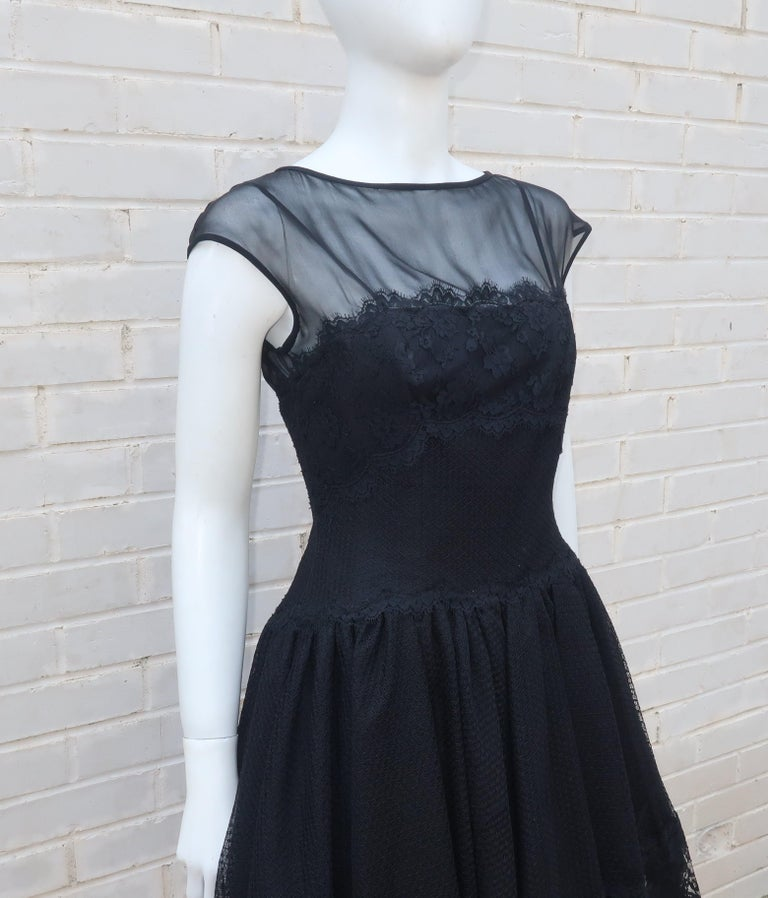 Stanley Platos Black Tulle and Lace Ballerina Cocktail Dress, 1980s   For Sale 2