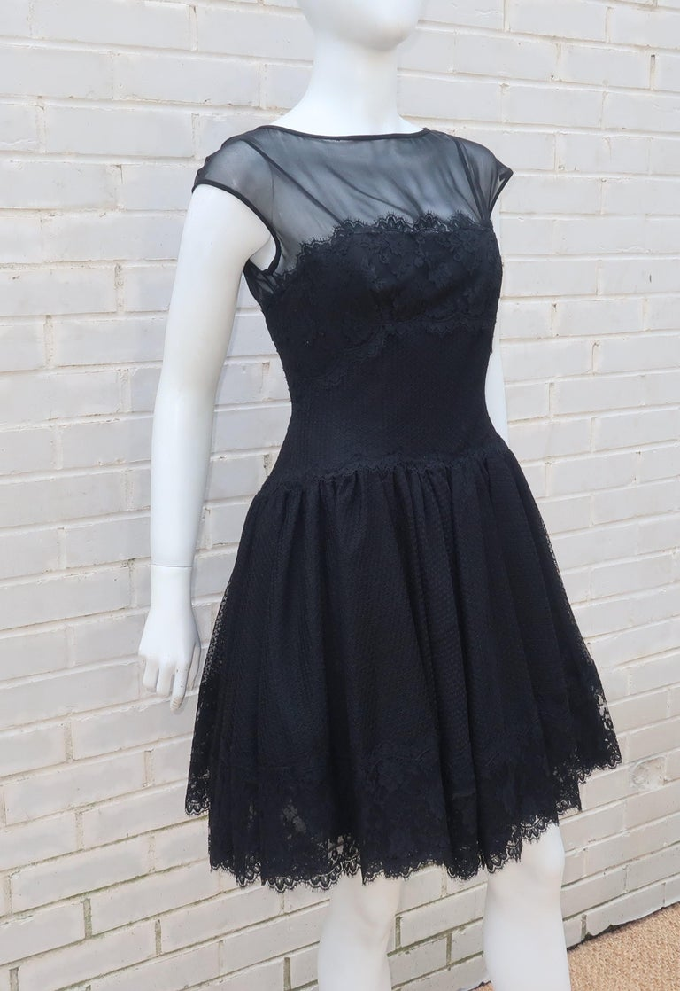 Stanley Platos Black Tulle and Lace Ballerina Cocktail Dress, 1980s   For Sale 1