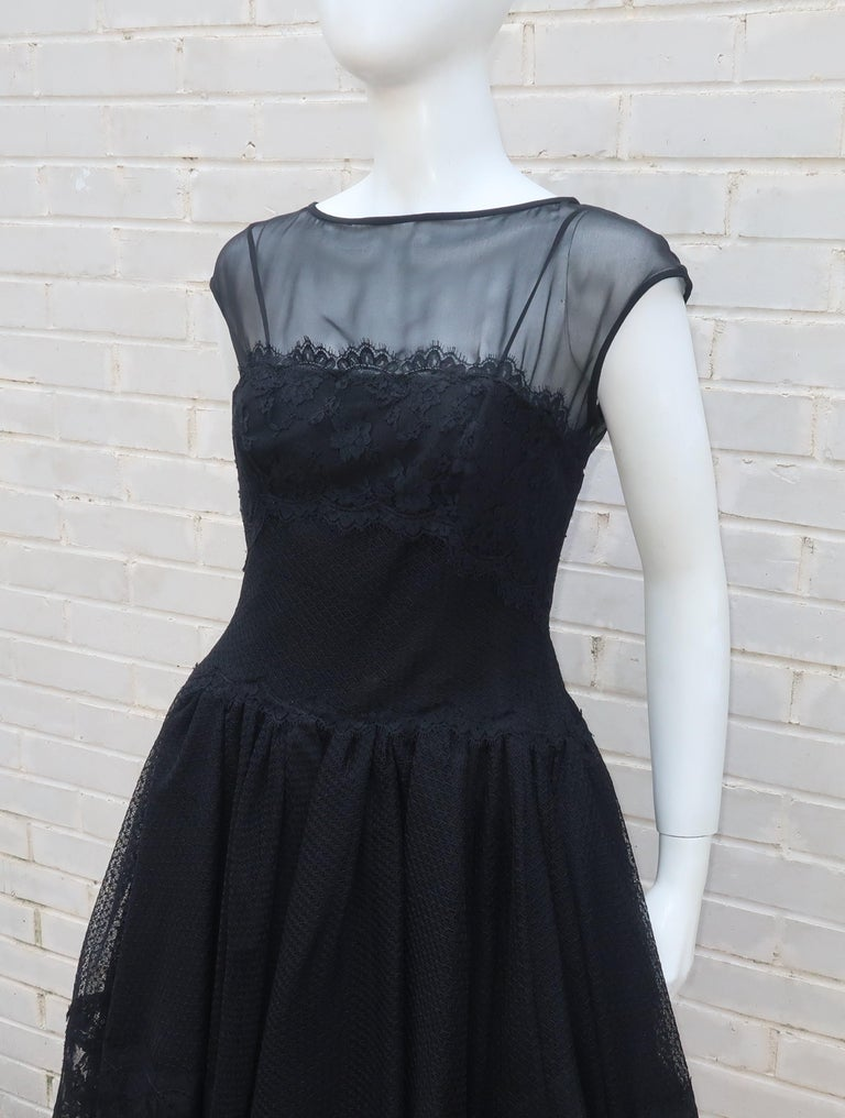 Stanley Platos Black Tulle and Lace Ballerina Cocktail Dress, 1980s   For Sale 3