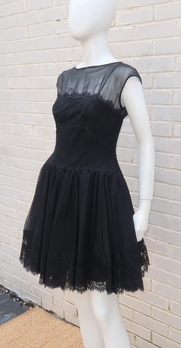 Stanley Platos Black Tulle and Lace Ballerina Cocktail Dress, 1980s   For Sale 4