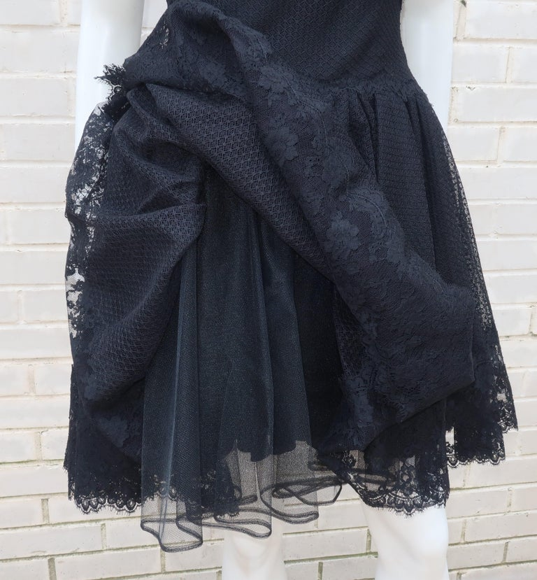 Stanley Platos Black Tulle and Lace Ballerina Cocktail Dress, 1980s   For Sale 7
