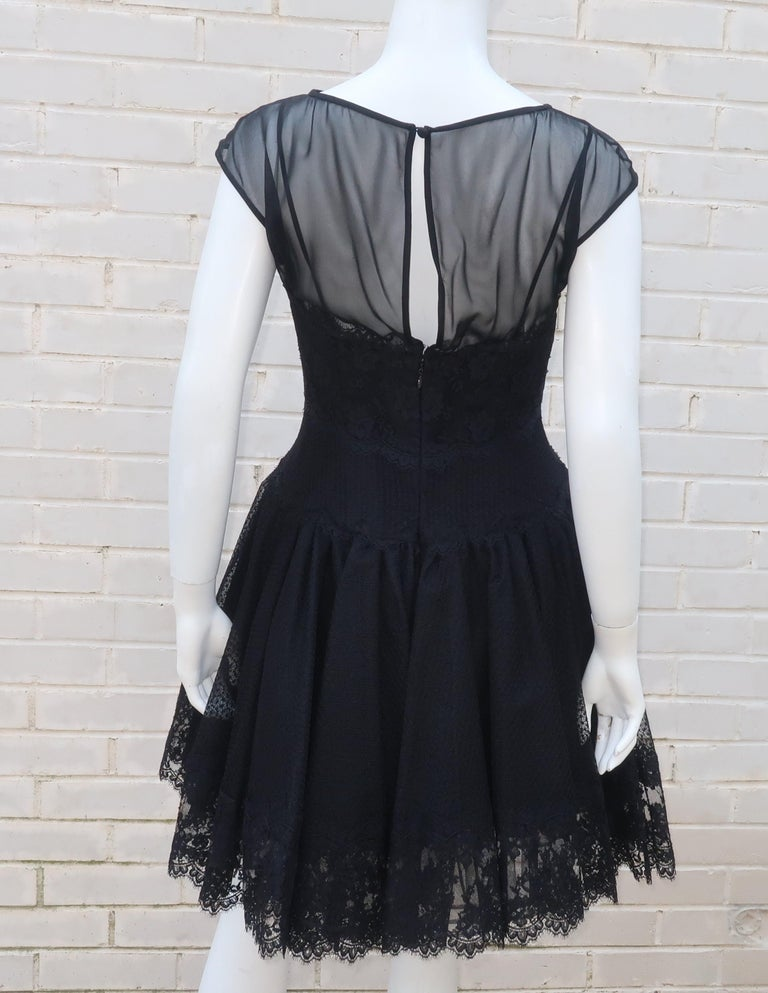 Stanley Platos Black Tulle and Lace Ballerina Cocktail Dress, 1980s   For Sale 6