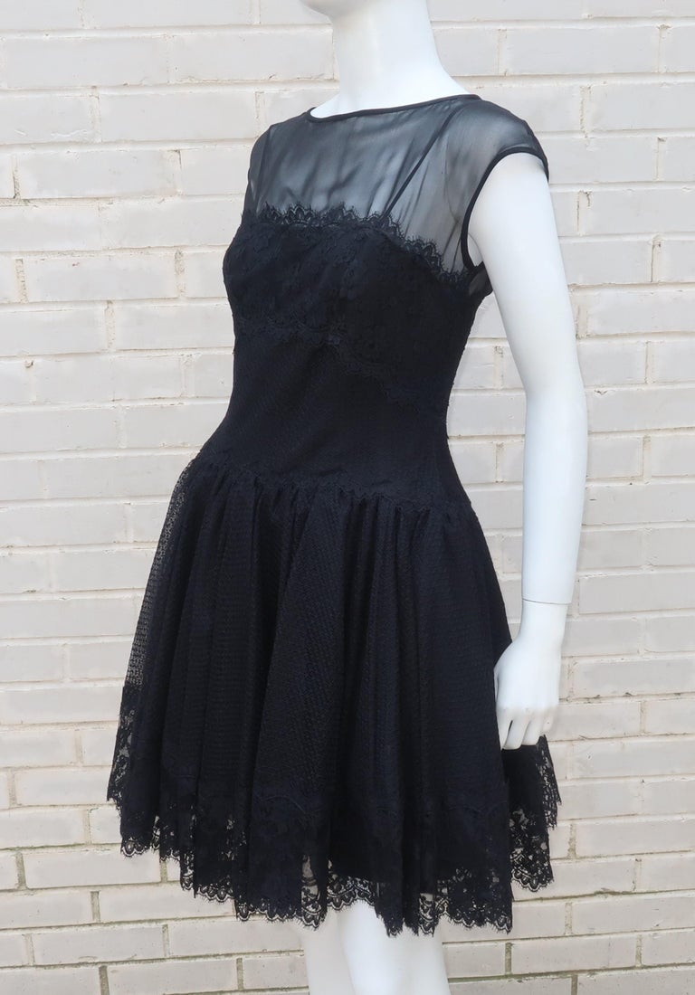 Stanley Platos Black Tulle and Lace Ballerina Cocktail Dress, 1980s   For Sale 5