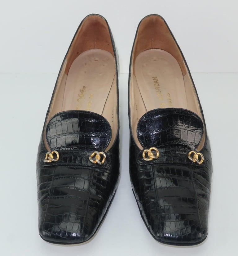 Women's C.1960 Charles Jourdan Black Crocodile Heeled Loafers Shoes For Sale