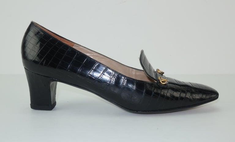 C.1960 Charles Jourdan Black Crocodile Heeled Loafers Shoes For Sale 3