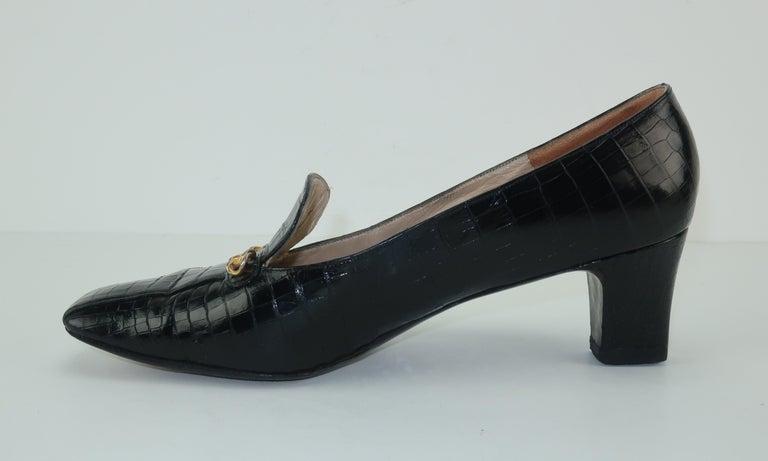 C.1960 Charles Jourdan Black Crocodile Heeled Loafers Shoes For Sale 4