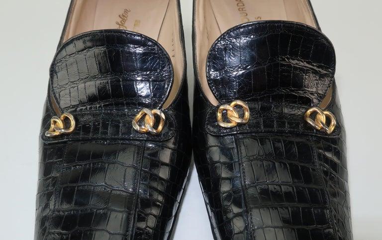 C.1960 Charles Jourdan Black Crocodile Heeled Loafers Shoes For Sale 8