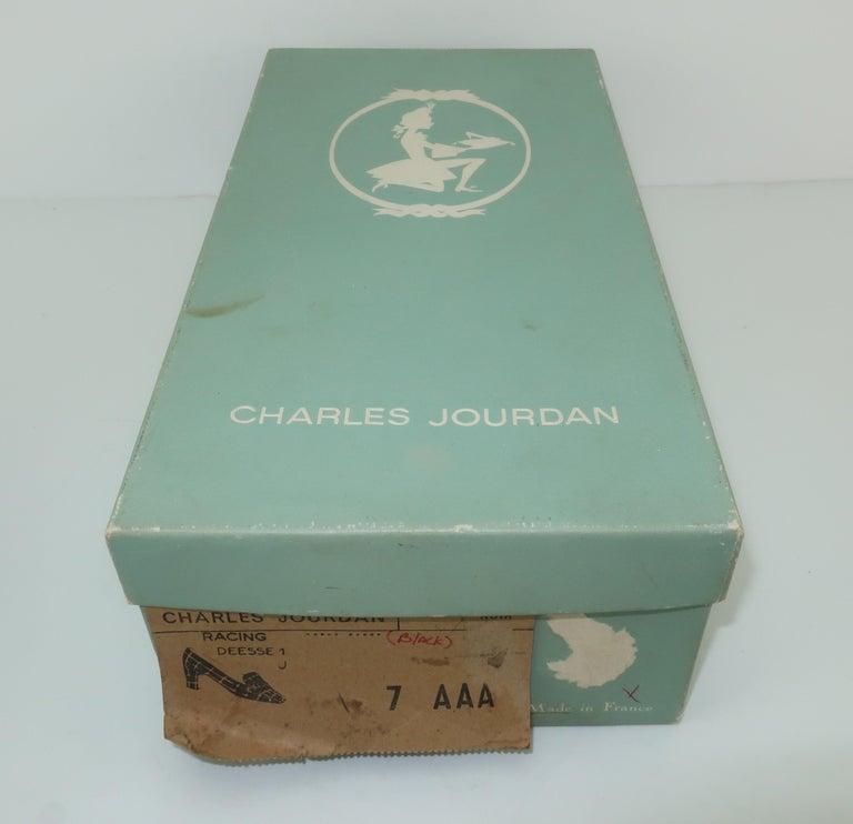 C.1960 Charles Jourdan Black Crocodile Heeled Loafers Shoes For Sale 9