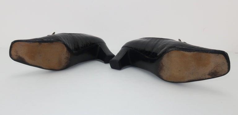 C.1960 Charles Jourdan Black Crocodile Heeled Loafers Shoes For Sale 2