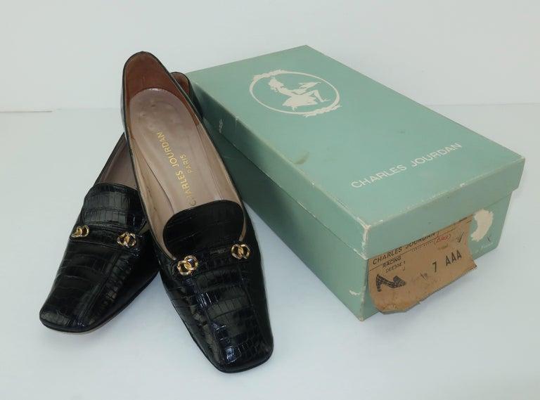 f98c455940bf0 C.1960 Charles Jourdan Black Crocodile Heeled Loafers Shoes