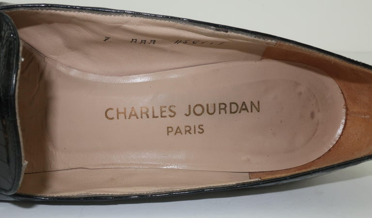 C.1960 Charles Jourdan Black Crocodile Heeled Loafers Shoes For Sale 5