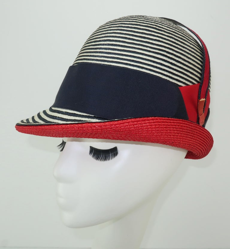 192d16267da Mod 1960 s Yves Saint Laurent Red White and Blue Straw Hat For Sale ...