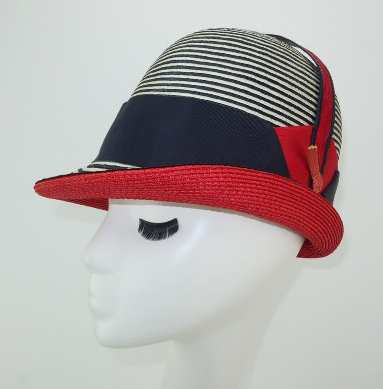 184b5c922 Mod 1960's Yves Saint Laurent Red White & Blue Straw Hat